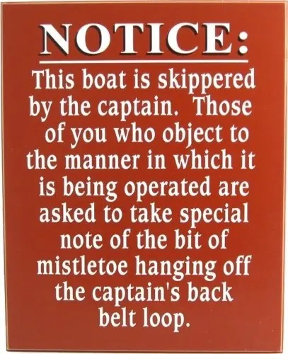 Notice: This boat is skippered by the captain.