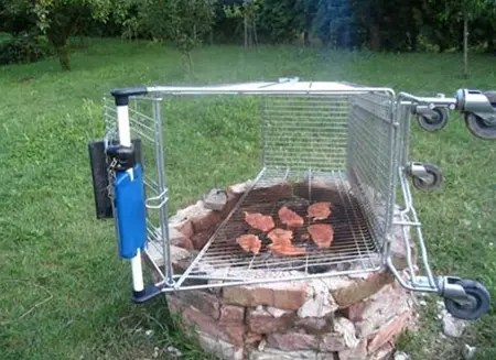 Shopping cart gas grill