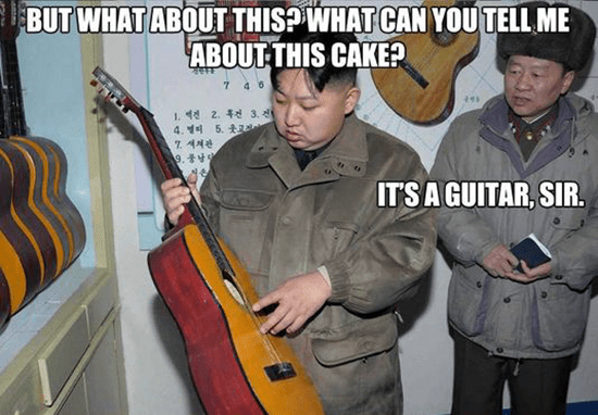 Kim Jong-un meme - But what about this?  What can you tell me about this cake?  It's a guitar, sir.