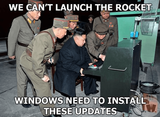 North Korea's Kim Jong-un meme - We can't launch the rocket.  Windows need to install these updates.