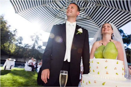 Awkward placement of fruit in wedding photo