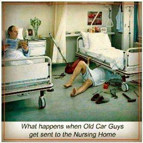 What happens when old car guys are sent to the nursing home