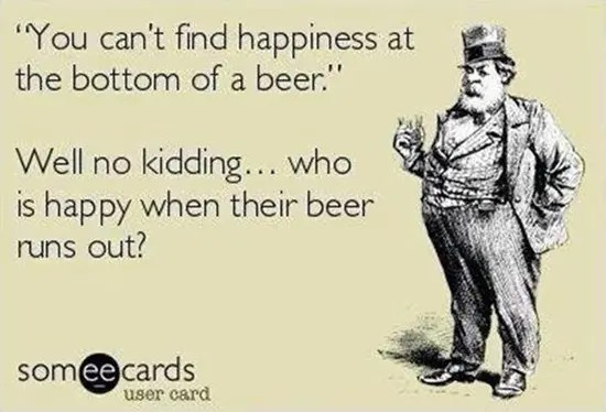 You can't find happiness at the bottom of a beer