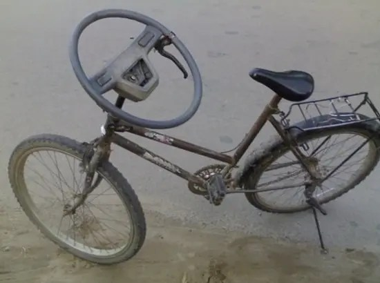 Pure genius - bike with steering wheel