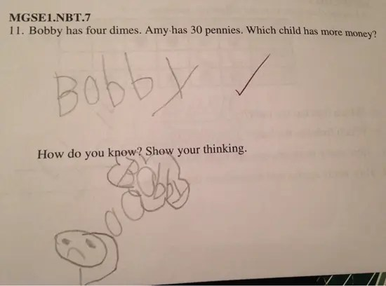 Bobby has four dimes.  Amy has 30 pennies.  Which child has more money?  Show your thinking.