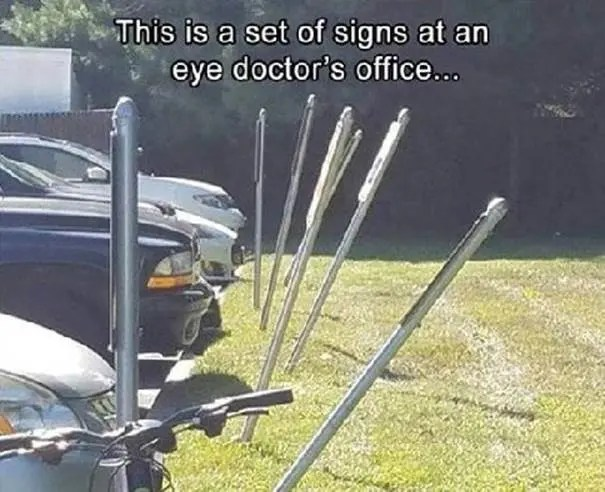 Signs at eye doctor office