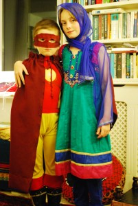 On Superhero Day at school, the lad wanted to be 'Stupendous Man' (from Calvin & Hobbes) and the girl wanted to be Malala Yousafzai. Original, at any rate...