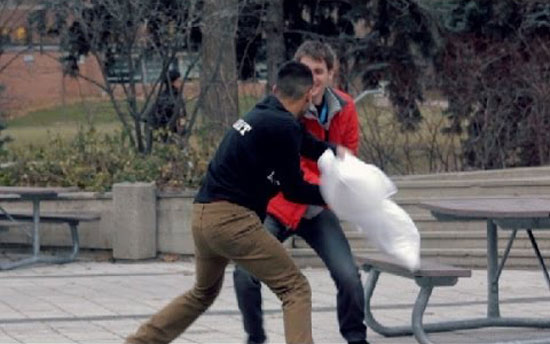 This proves almost everybody loves pillow fight. Funny!