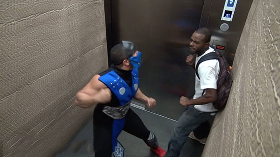 The Mortal Kombat elevator prank is here to freak riders out again!
