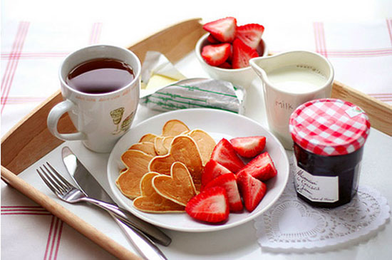 Tiny Heart Shaped Pancakes & Coffee