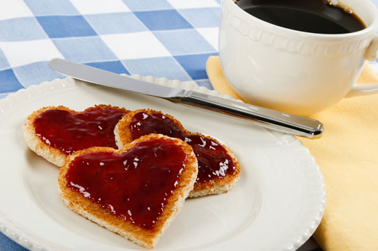 Red Jam On Toast Hearts