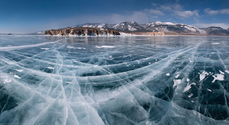 Frozen lake Baikal in Siberia