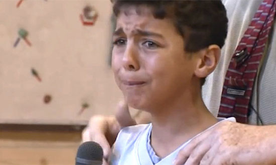 He is being bullied by his classmates. When he tells them how it feels, brought tears in my eyes!