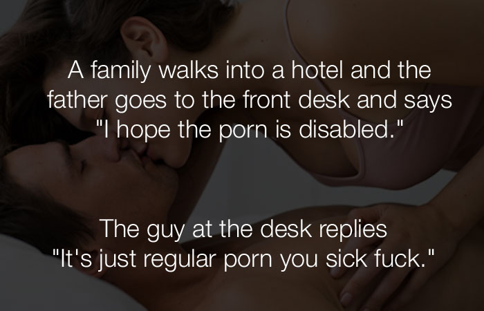 Dumb Jokes - A family walks into a hotel and the father goes...
