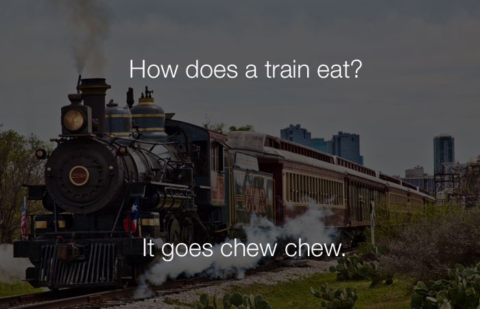 Funniest Jokes - How does a train eat?