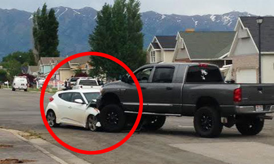 He intentionally hits this car. When you will see why he did that, you'll stand up and applaud