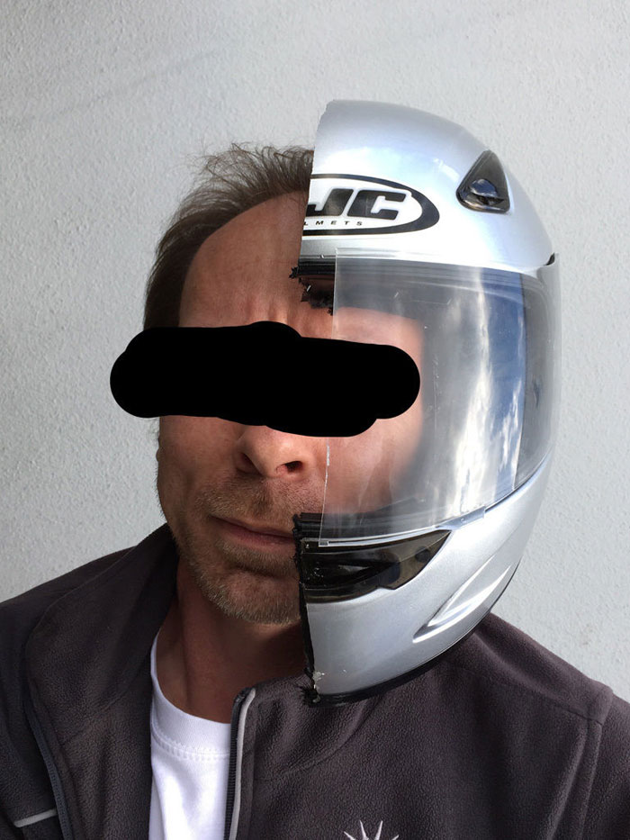 Half of Helmet for his girlfriend