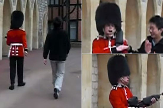 Watch what happens when a dumb Chinese tourist tried to annoy the Queen's guard