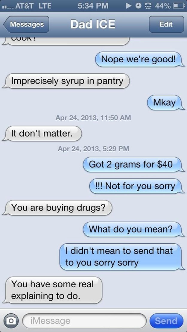 Text parents pretending to be a drug dealer