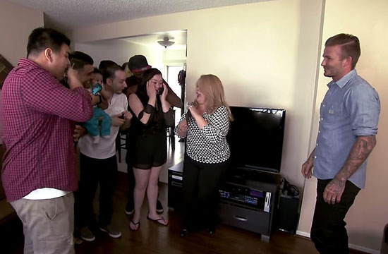 David Beckham Surprises a Hard Working California Family With $100,000 and iPhones