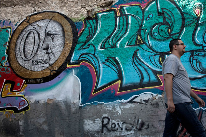 Greece financial crisis - Graffiti titled '0 Euro' by street Artist Achilles in Athens