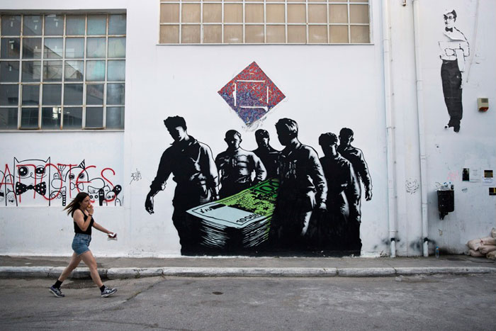 Greece financial crisis - 'Death of Euros' by French street artist Goin at the Athens School of Fine Arts