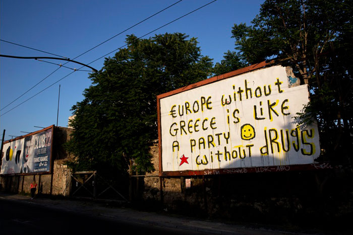 Greece financial crisis - 'I have changed, I don't take drugs anymore or go to parties, but Europe just won't grow up.', artwork by street artist Cacao Rocks