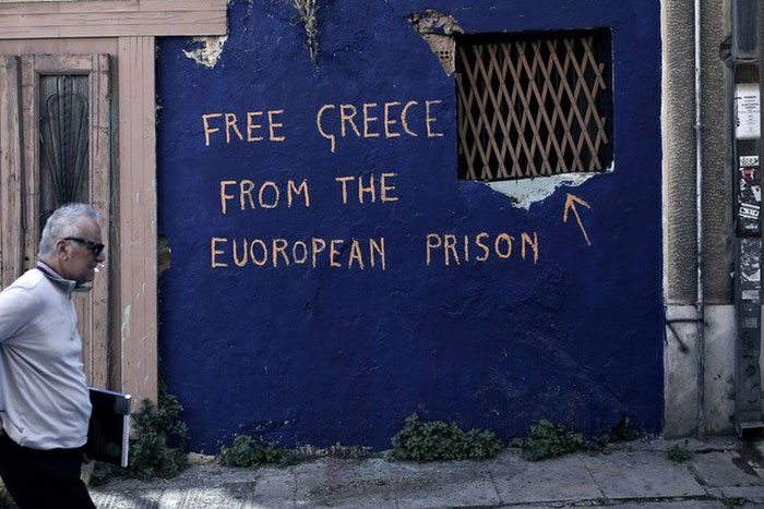 Greece financial crisis - 'Free Greece from the European prison' by unknown artist