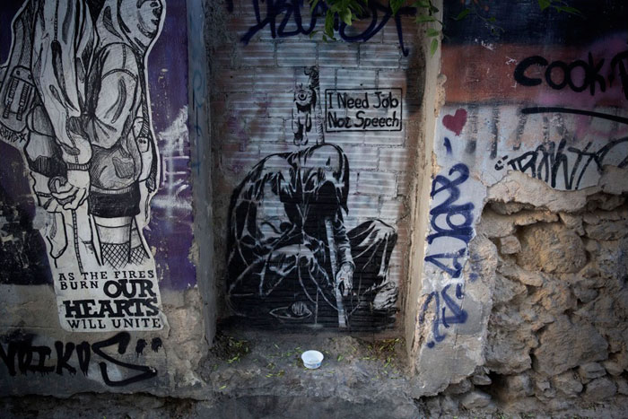 Greece financial crisis - 'I Need Job, Not Speech' by an artist who uses the name Wild Drawing