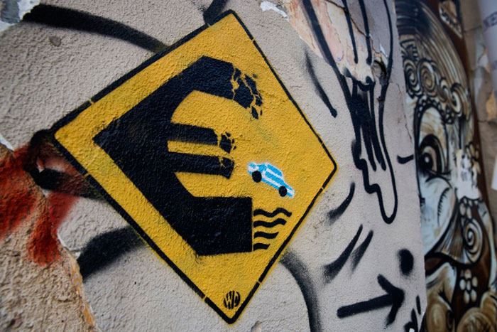 Greece financial crisis - 'Keep Away', a stencil work by an artist who uses the name Wild Drawing