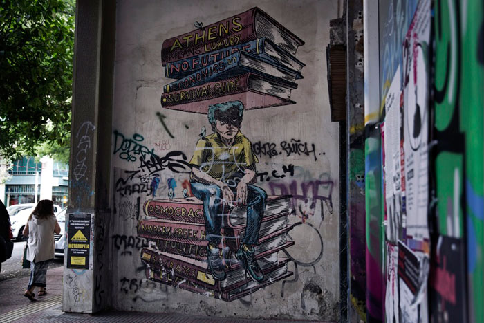 Greece financial crisis - A mural about the Greek financial crisis in Athens