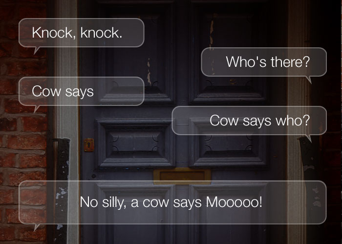 Knock Knock Jokes For Kids - Knock, knock. Who's there? Cow says. Cow says who? No silly, a cow says Mooooo!