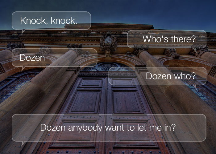 Funny Knock Knock Jokes - Knock, knock. Who's there? Dozen. Dozen who? Dozen anybody want to let me in?