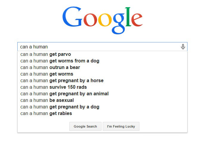 Weirdest Google Search Suggestions - Can a Human Get Pregnant by an Animal