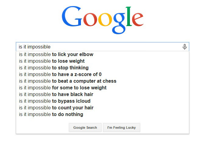 Hilarious Google Search Suggestions - Is It Impossible to Lick Your Elbow