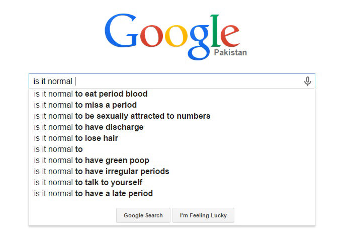 Weird Google Search Suggestions - Is It Normal to Eat Period Blood