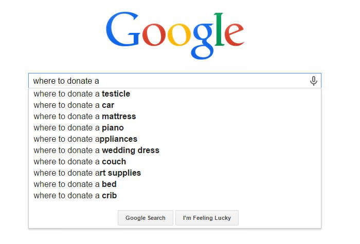 Weirdest Google Search Suggestions - Where to Donate a Testicle