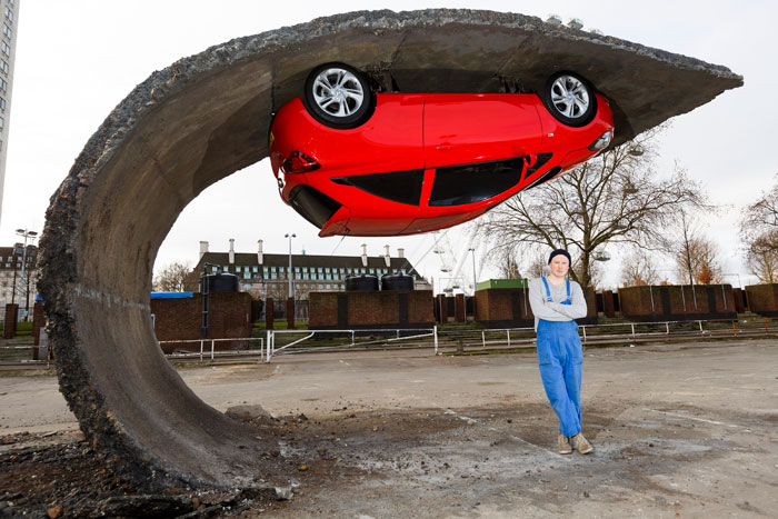 A Car and It's Parking Space Sculpture by Alex Chinneck