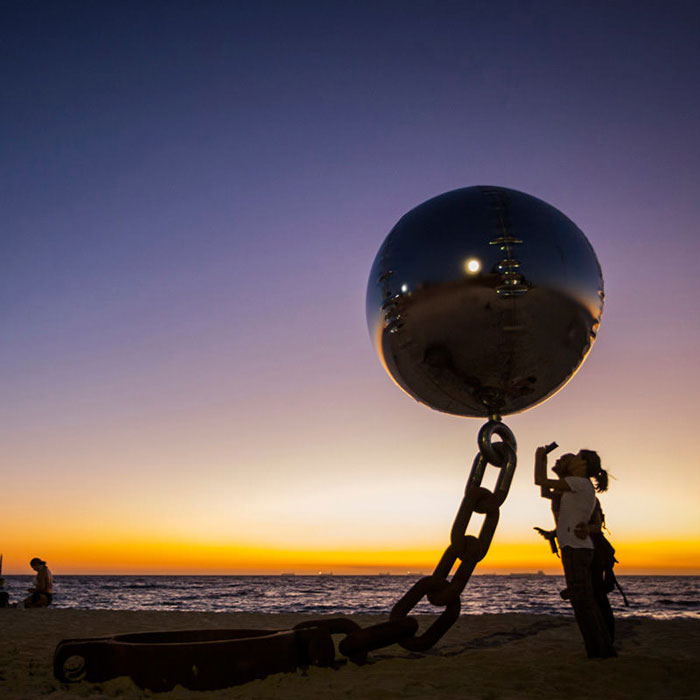 Floating Ball of Steel Sculpture by WA Sculptors