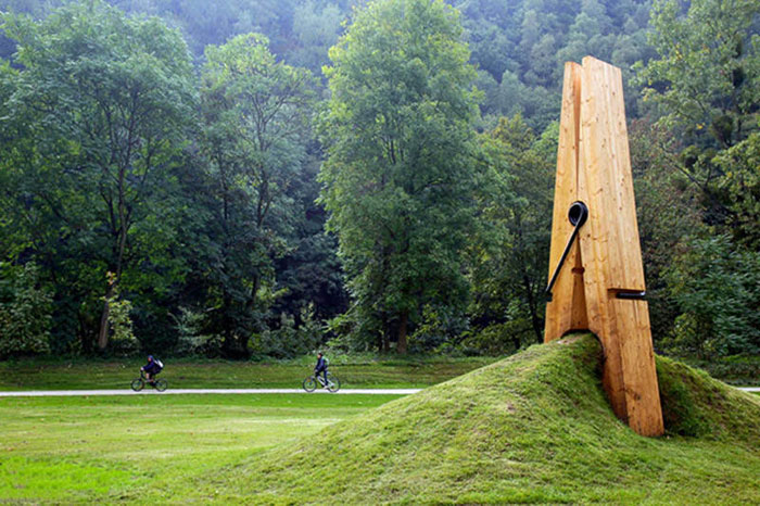 Giant Clothespin Sculpture by Mehmet Ali Uysal
