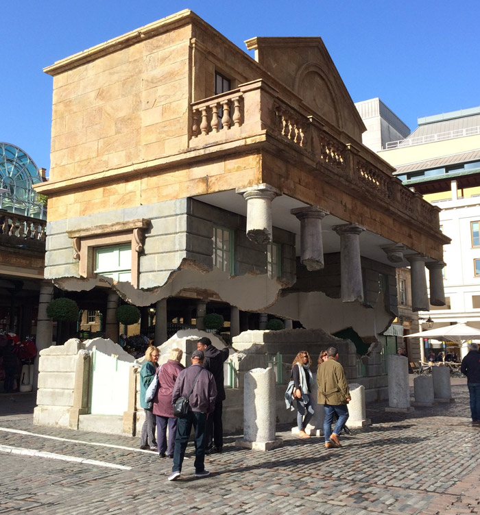 The floating building Sculpture by artist Alex Chinneck in Covent Garden
