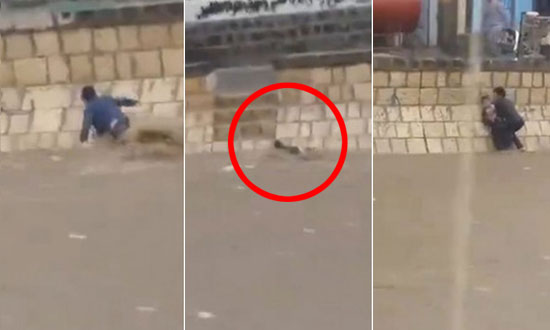 Guy Heroically Saves Young Boy From Certain Death in Raging Flood Waters