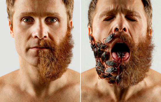 Man Uses Absurdly Random Items to Fill in His Half-Shaved Hipster Beard