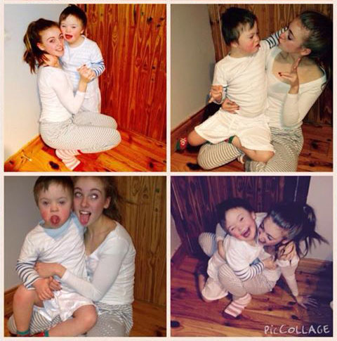 Leah Kirwan and her little brother Noah with Down Syndrome
