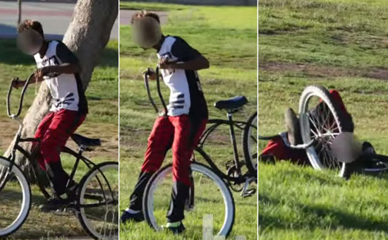 Bike Thief Decides To Steal A Bike In The Park But He Regrets It Immediately!