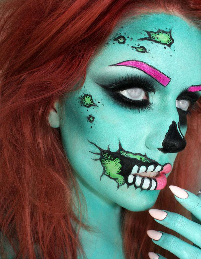 Creepy Halloween Makeup - Pop Art Zombie