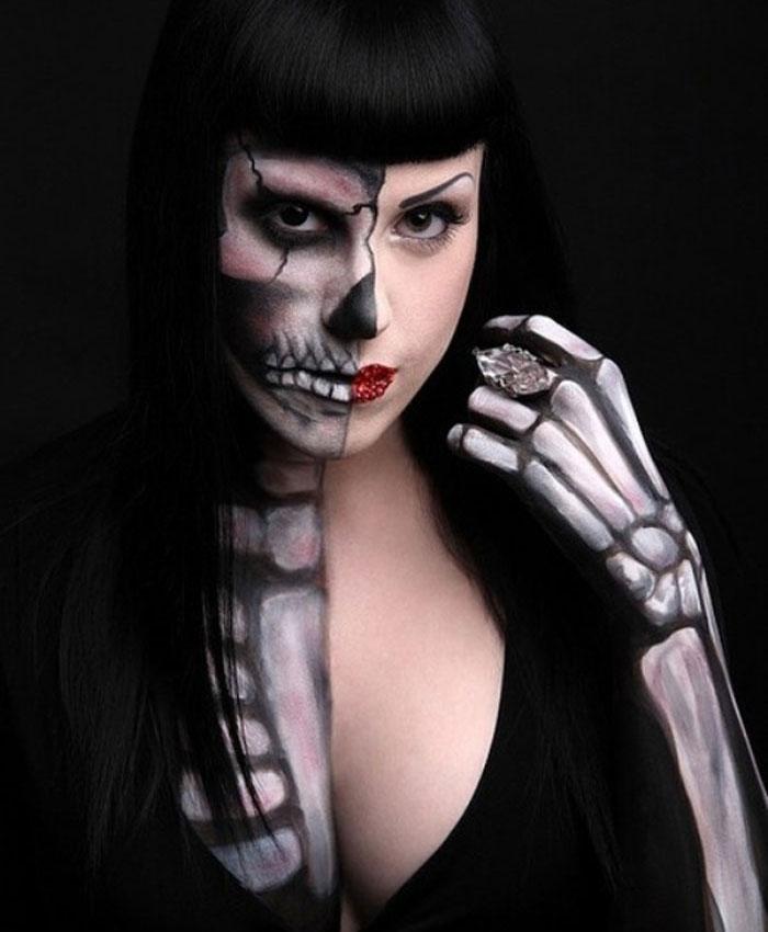 Halloween Makeup Ideas - Semi Skeleton