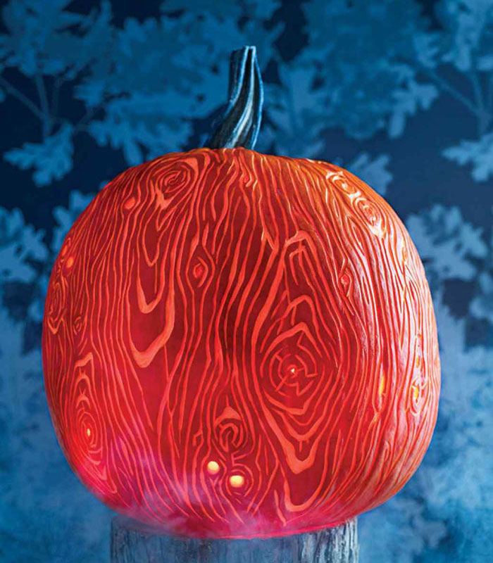 Awesome Pumpkin Carving Ideas - Faux Bois Pumpkin