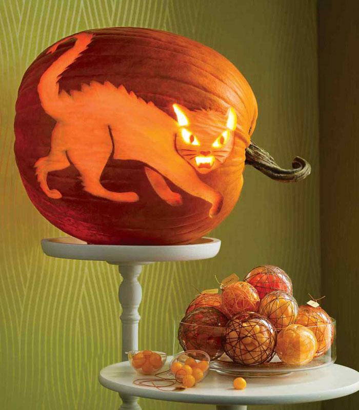 Decorated Pumpkins for Halloween - Fierce Feline Pumpkin
