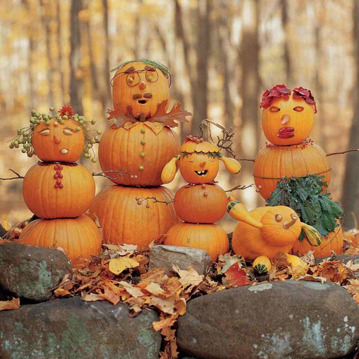 Decorating Pumpkins for Halloween - Pumpkin Family